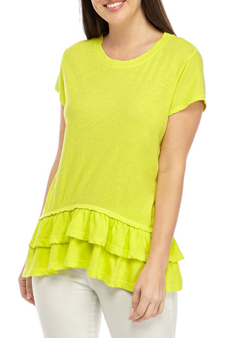 Womens Short Sleeve Tiered Top