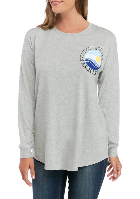 Crown & Ivy™ Womens Long Sleeve Sweeper T-Shirt
