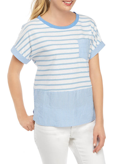 Crown & Ivy™ Womens Nautical Stripe 2Fer Top