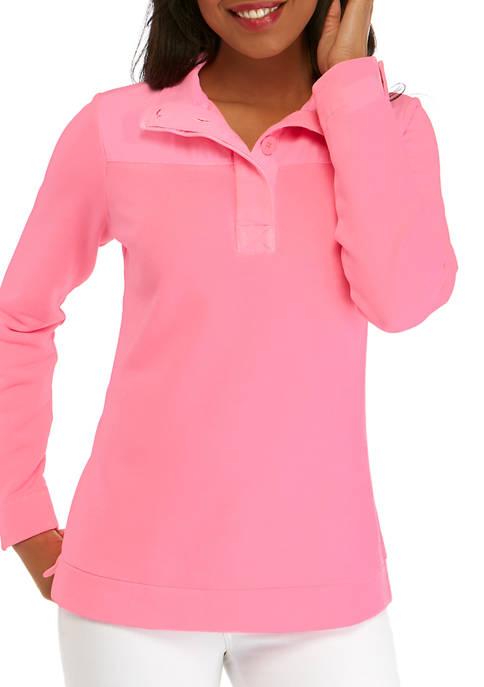 Crown & Ivy™ Womens Long Sleeve Button Sweatshirt