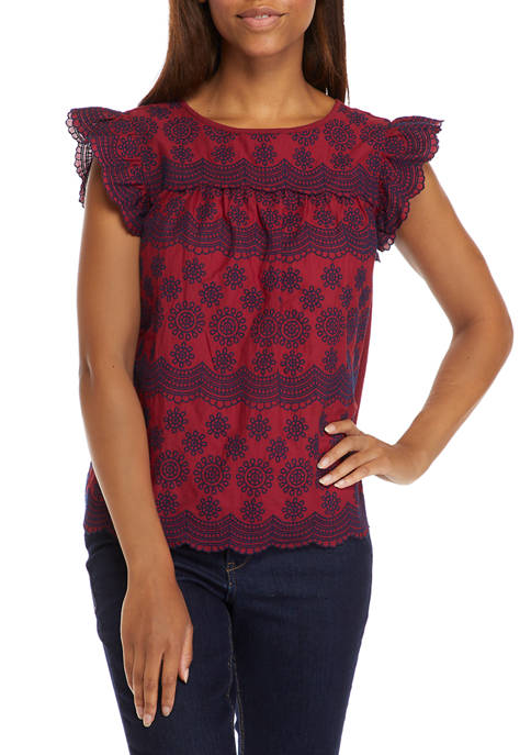 Crown & Ivy™ Womens Flutter Sleeve Eyelet Top