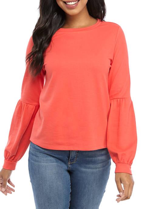 Crown & Ivy™ Womens Long Puff Sleeve Sweatshirt