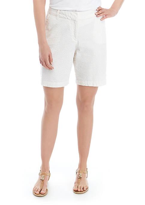Crown & Ivy™ Caroline Stripe Seersucker Classic Shorts