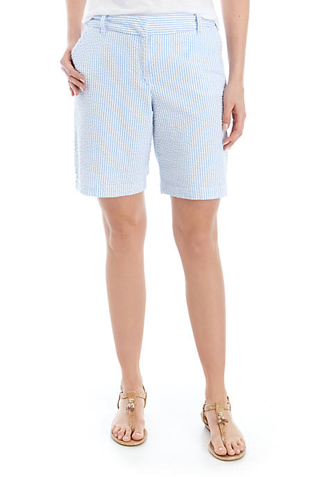 Crown & Ivy™ Caroline Stripe Seersucker Classic Shorts
