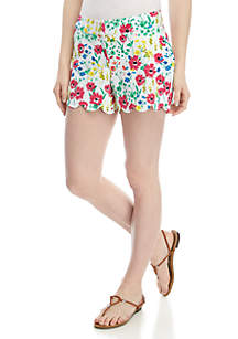 Crown & Ivy™ Shelby Scallop Hem Floral Shorts