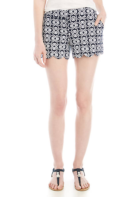 Crown & Ivy™ Shelby Printed Scallop Shorts