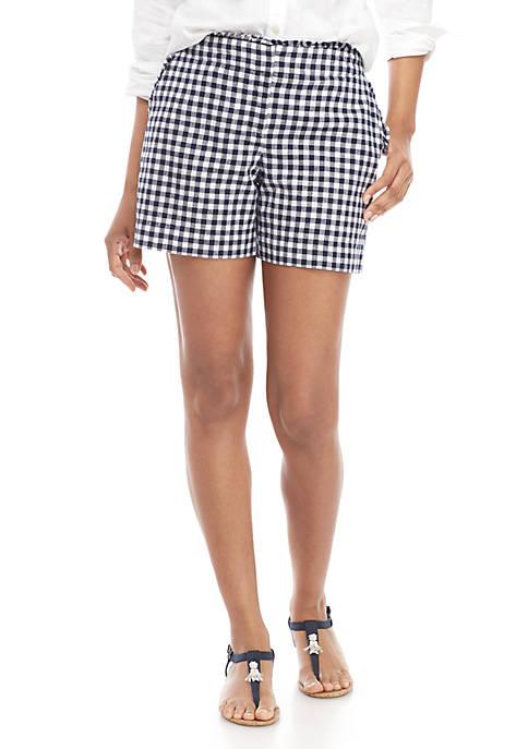 Ruffle Waist Gingham Shorts