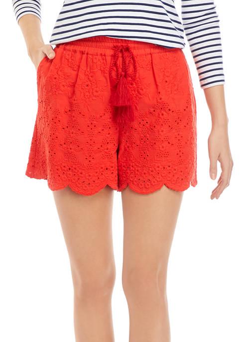 Crown & Ivy™ Womens Yarn Dye Eyelet Shorts