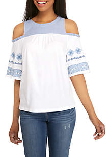 Cold Shoulder Mix Top
