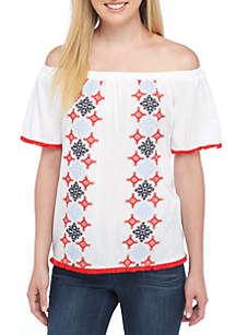 Off-The-Shoulder Embroidered Knit Top