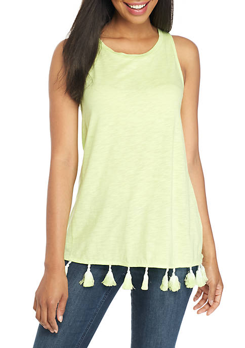 Crown & Ivy™ Sleeveless Tassel Trim Tank