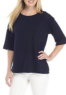 Montauk Weekend Elbow Sleeve Cut-Out Sweatshirt