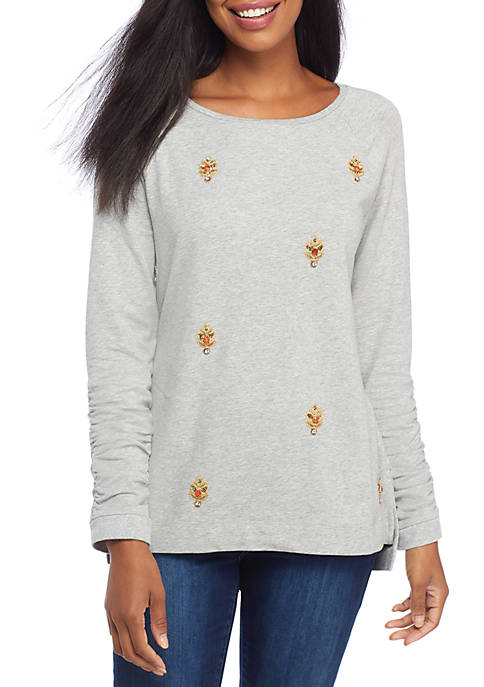Crown & Ivy™ Long Ruched Sleeve Solid Top