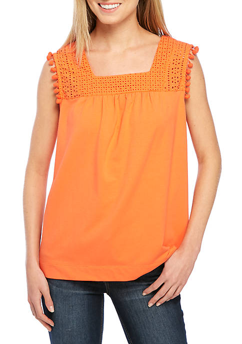 Crown & Ivy™ Sleeveless Eyelet Tank
