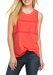 Sleeveless Mesh Embroidered High Low Top