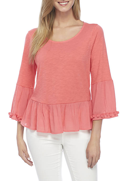 Crown & Ivy™ Three-Quarter Flounce Knit Solid Top