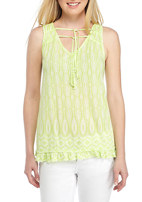 Crown & Ivy™ Sleeveless Shirred Top