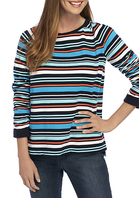 Crown & Ivy™ Long Sleeve Stripe Sweatshirt
