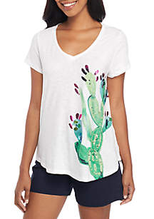 Short Sleeve V-Neck Printed Tee