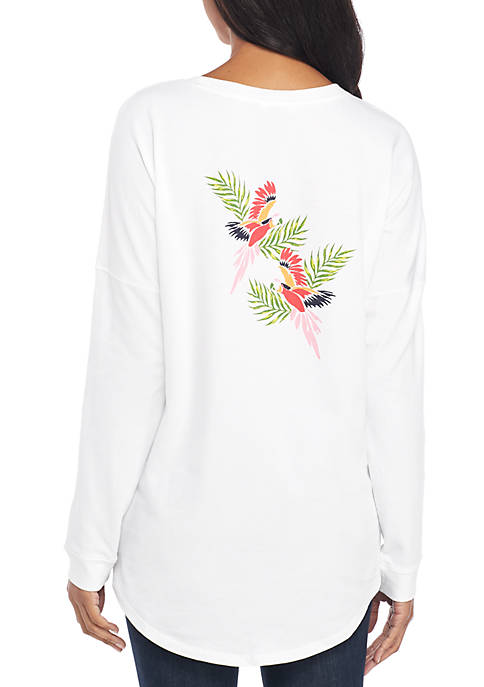 Crown & Ivy™ Long Sleeve Sweeper Print Top