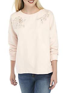 Long Sleeve Embroidered Sweatshirt