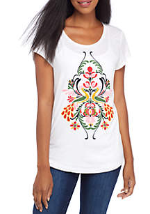 Short Sleeve Embroidered Solid Tee