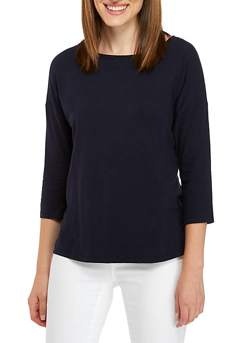 Crown & Ivy™ Three-Quarter Solid Boat Neck Top