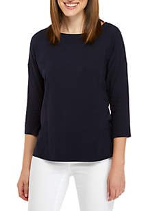 Three-Quarter Solid Boat Neck Top