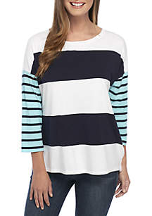 3/4 Sleeve Boat Neck Printed Top