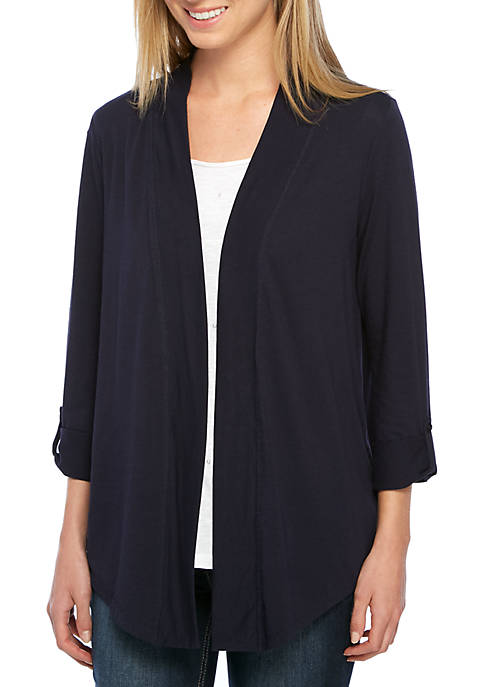 Crown & Ivy™ Three-Quarter Sleeve Solid Cardigan