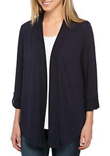 Three-Quarter Sleeve Solid Cardigan
