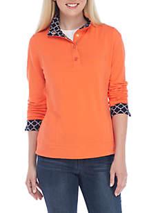... Crown   Ivy™ Long Sleeve Mock Neck Quarter Button Top 6ef2456ee5d69