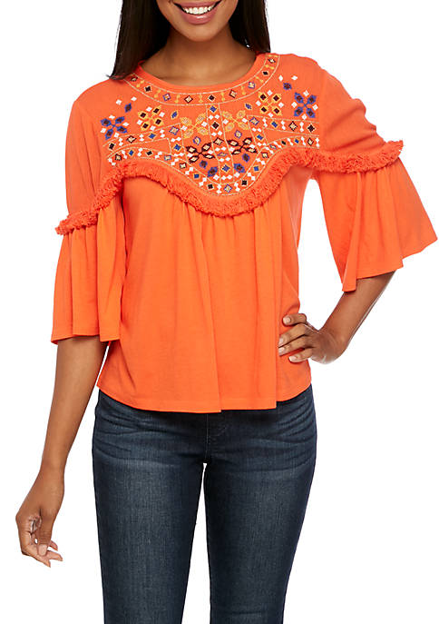 Crown & Ivy™ Bell Sleeve Embroidered Neck Top