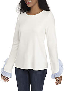 Long Sleeve Ruffle Sleeve Solid Top
