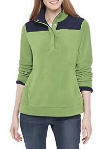 Long Sleeve Solid Mock Neck Fleece Pullover