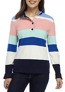 Petite Long Sleeve Button Stripe Top