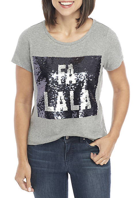 Crown & Ivy™ Short Sleeve Fa-La-La Top