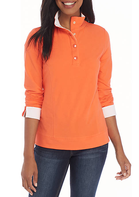 Crown & Ivy™ Long Sleeve Mock Neck Button