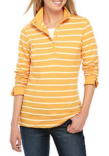 Long Sleeve Mock Neck Button Up Top