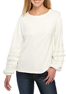 Long Sleeve Embroidered Bubble Sleeve Top