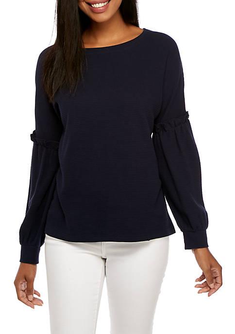 Crown & Ivy™ Long Ruffle Sleeve Sweater