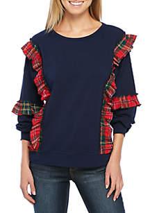 Long Sleeve Ruffle Sweatshirt