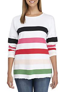 Long Sleeve Raw Edge Striped Sweater
