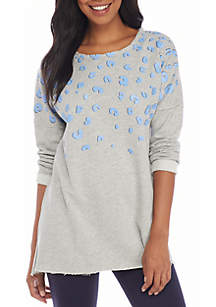 Three-Quarter Sleeve Raw Edge Sweeper Printed Sweatshirt