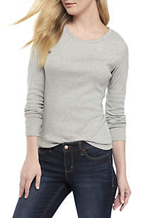 ... Crown   Ivy™ Long Sleeve Crew Neck Solid Top 2d76f69f5a18c