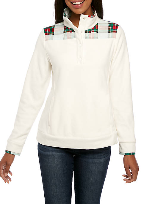 Crown & Ivy™ Womens Long Sleeve Plaid Fleece