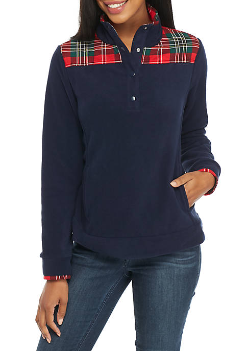 Crown & Ivy™ Long Sleeve Plaid Fleece Pullover