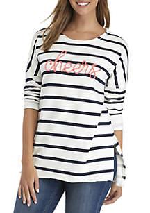 3/4 Sleeve Raw Edge Striped Sweatshirt