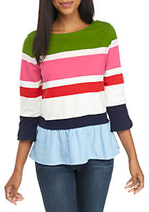 Three-Quarter Sleeve Woven Hem Top