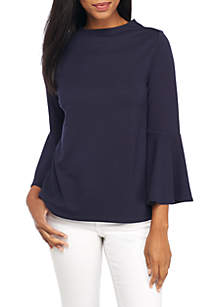 Long Bell Sleeve Mock Neck Solid Top